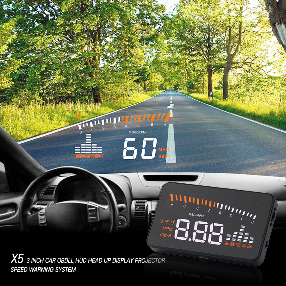 X5 Car Auto Hud Head Up Display OBDII Car Interface Speedometer Detector Over Speed Alert LED