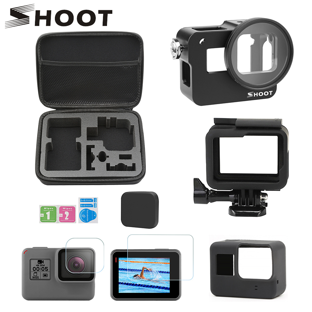 SHOOT Protective Case Cage Accessories Set Mount for GoPro Hero 7 6 5 Black Housing with Backdoor for Go Pro Hero 7 6 5 Black SHOOT Protective Case Cage Accessories Set Mount for GoPro Hero 7 6 5 Black Housing with Backdoor for Go Pro Hero 7 6 5 Black