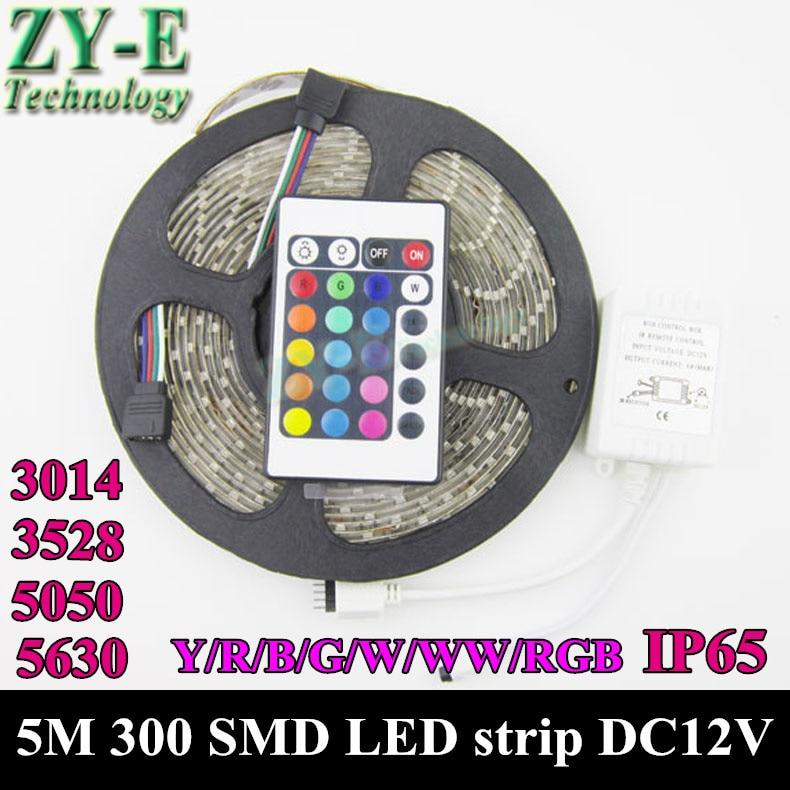 100M 300 SMD LED Strip 3528/3014/5050/5630 12V fexible LED Ribbon,60 LED/M,waterproof,W/WW/R/Y/B/G/RGB,Freeship by DHL Fexdex