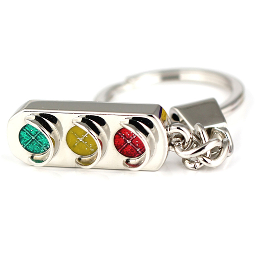 1pcs Fashion Cute Traffic Light Mini Key Ring Chain Classic 3d Solid Keychains Silver Wholesale