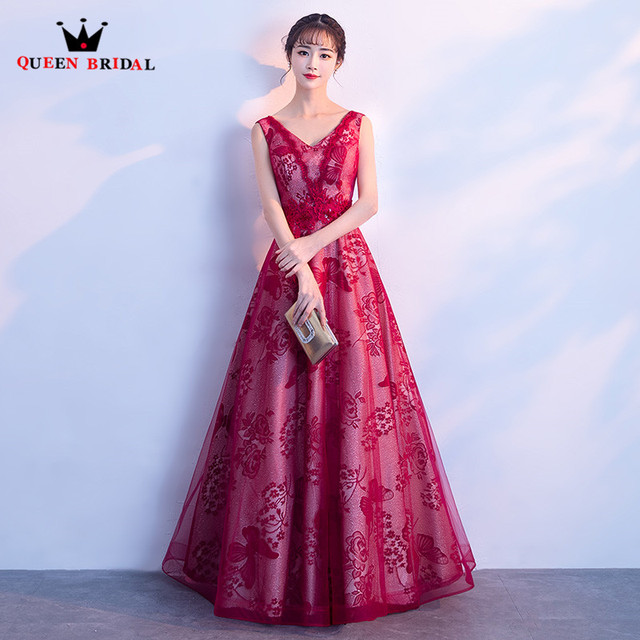 QUEEN BRIDAL Evening Dresses 2018 New Fashion Red A line Floor ...