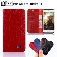 For Xiaomi Redmi 4 Case Sencond Layer Genuine Leather With Soft TPU Wallet Flip Cover For