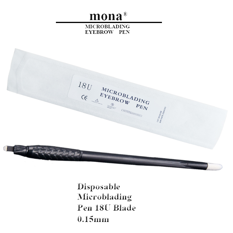 18U 0.15mm Disposable Microblading Tools Manual Tattoo Eyebrow Pen With 18U Blade Permanent Makeup Tattoo Pen 10pcs