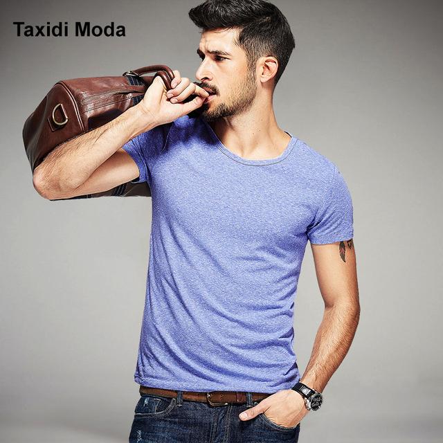 Nova Moda Verão Mens Casual Camisetas 3 Cor Sólida Curto manga marca clothing desgaste do homem slim fit roupas masculinas tops Tee