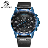 2017 Men Watches Luxury Top Brand OCHSTIN Sports Chronograph Fashion Male Dress Leather Belt Clock Waterproof