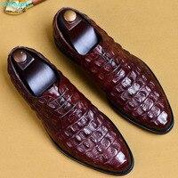 QYFCIOUFU Crocodile Pattern Genuine Leather Men Oxford Shoes Pointed Toe Men Dress Shoes Big Size Lace Up Formal Shoes US 11.5