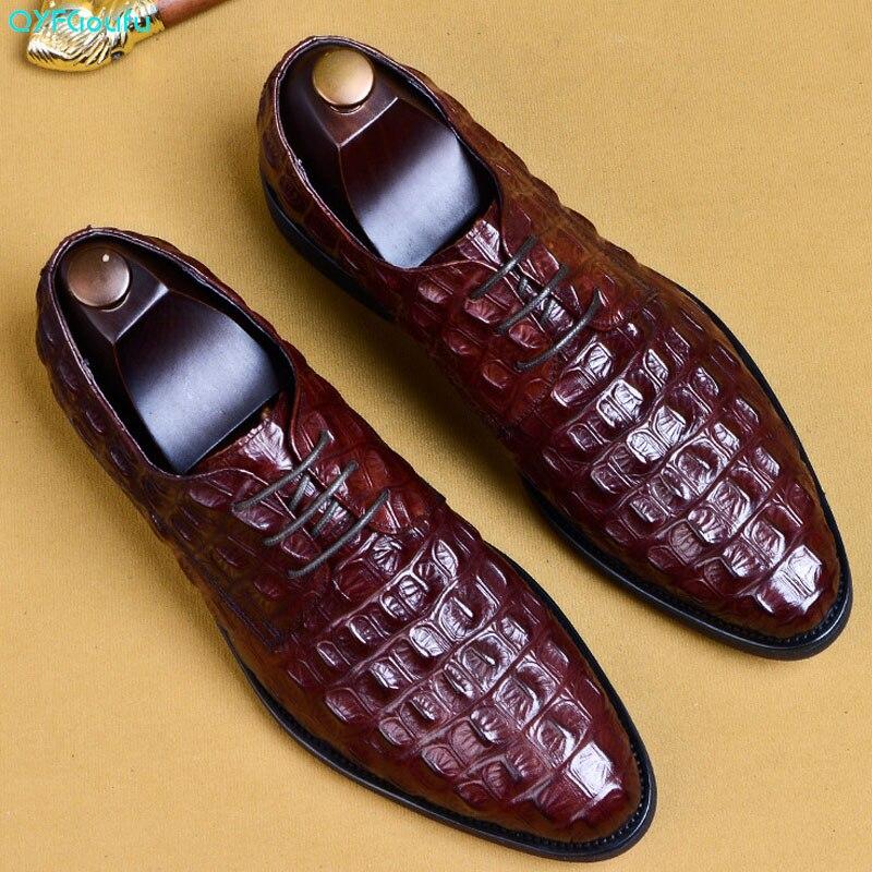 Qyfcioufu padrão de crocodilo couro genuíno dos homens oxford sapatos apontados dedo do pé dos homens vestido sapatos tamanho grande rendas até sapatos formais eua 11.5