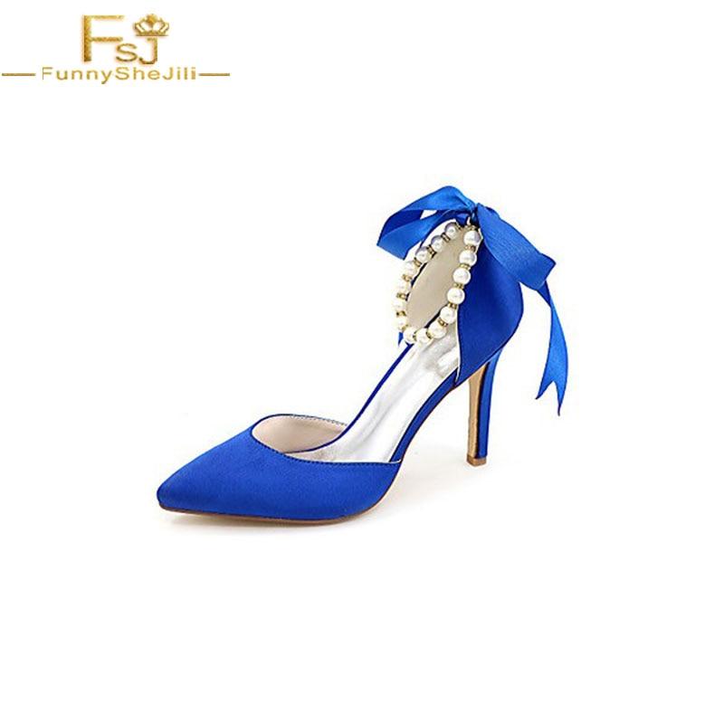 12 Aiguille Taille Dames D'honneur De Pompes Plus 13 Fsj01 Bleu 2018 Femmes Arc Automne Chaussures Demoiselle Shoes11 Printemps Talon Mariage La paxnwqU8n