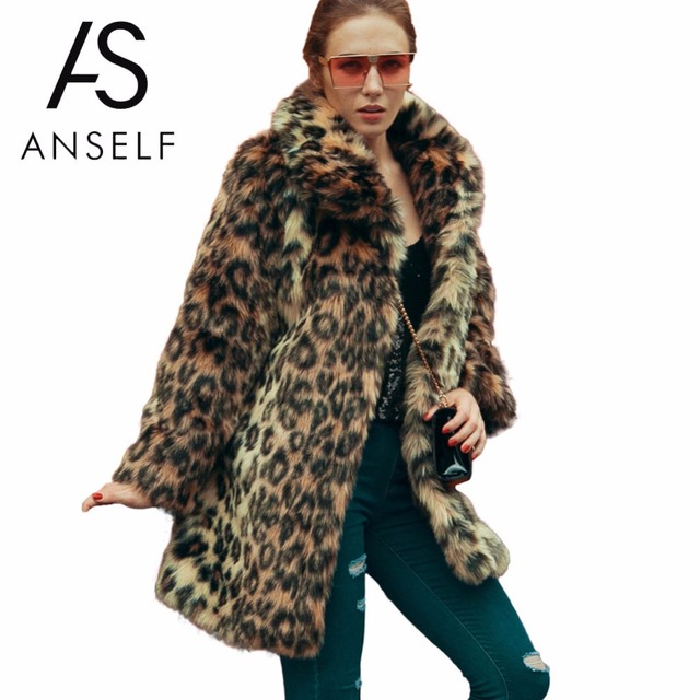 Anself Fashion Leopard Print Winter Women Faux Fur Coat Long Sleeve  Turn-Down Collar Ladies Trench Coat Warm Outwear Brown XXXL c83982a47