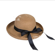 Hot New Fashion Summer Casual Women Ladies Wide Brim Beach Sun Hat Elegant Straw Floppy panama Cap For Women Dating Cheap