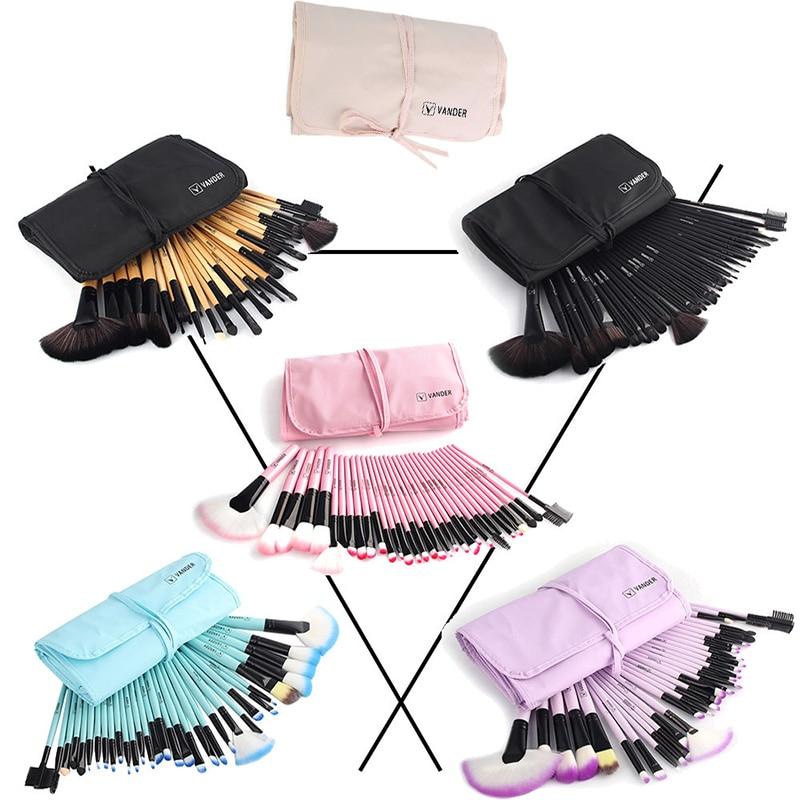 Vander 32Pcs Makeup Brushes Eye Shadows Lipstick Powder Foundation Brushes With Cosmetic Bag Pincel Make Up Brushes Kits