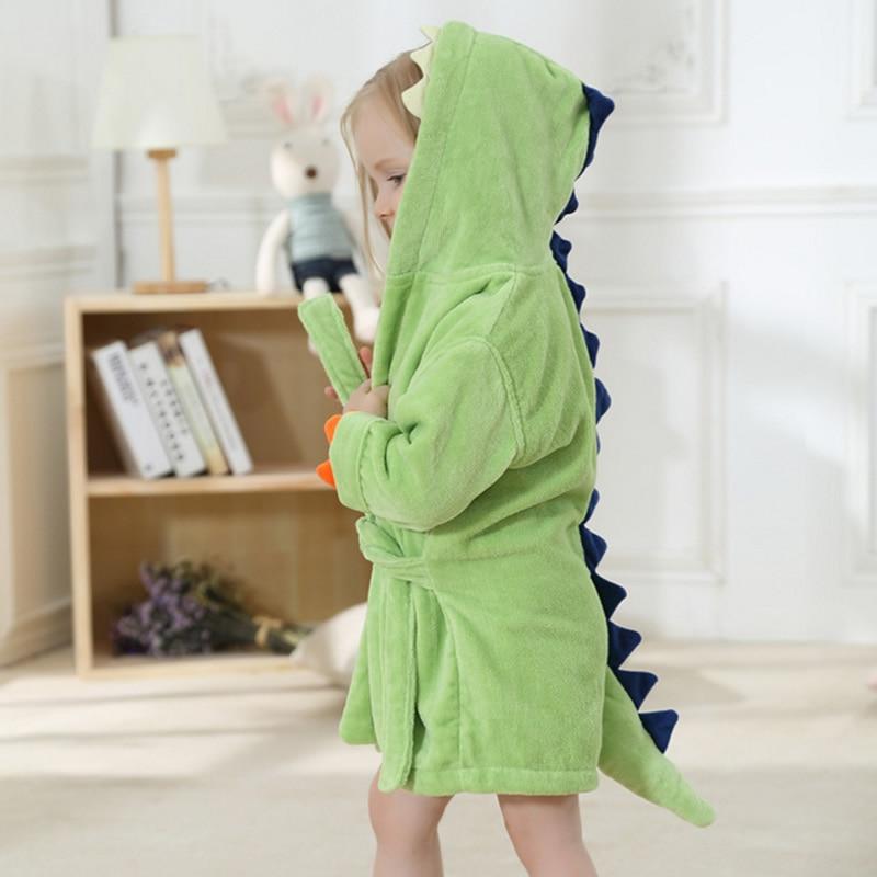 2018 Fashion Baby Girls Bathrobes Green Dinosaur Robe Cartoon Towel Kid Spring Autumn Bathing Suits Animal Hooded Nightgown