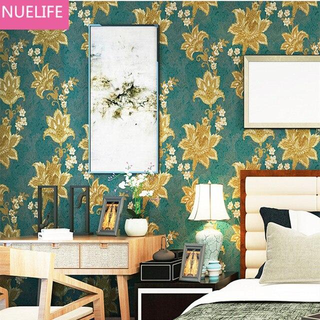 0.53x10 M South East Asian Retro Style Green Flower Pattern Wallpaper Bedroom  Living Room Sofa