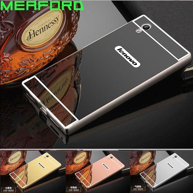 For Fundas Lenovo P70 Case Mirror Aluminum Metal Bumper PC Plastic Back Cover Case For Lenovo P70-A P70A P70T P 70 Phone Cases