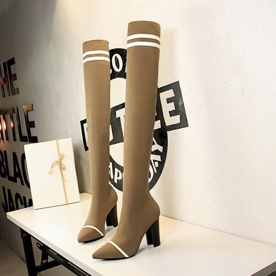 SENERY Women Over Knee High Boots Suede Zipper Pointed Toe Thin High Heel Black Motorcycle Booties