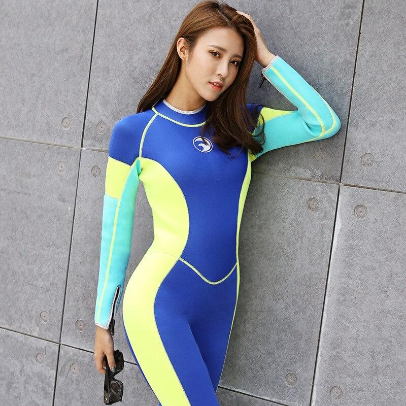 3 мм неопрена Мокрые одежды спорта людей Полный Средства ухода за кожей Для женщин с длинным рукавом мокрый костюм, подводного плавания, Сёр...