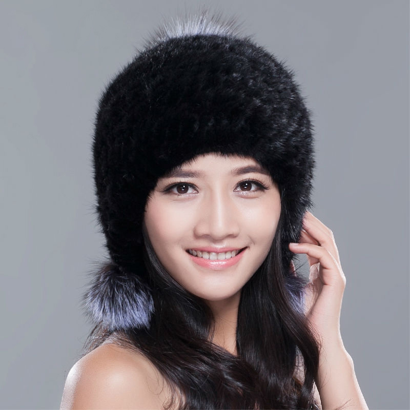 Russia winter hats for women genuine mink fur hat with silver fox fur pompom lady's fashion high-end female cap genuine mink fur hat for women winter imported whole mink fur cap floral pattern 2015 russian high end luxury female hats