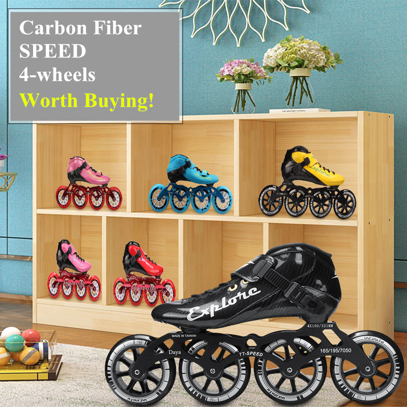 HOOMORE Explorer 4-wheels Carbon Fibre Inline Speed EUR 28-45 Kids Adults Male Female 4X110mm 110mm 100/90mm Whole Skates Worth