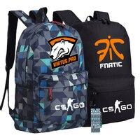 Men Women Boys Girls Unisex Fnatic Virtus Pro Dota 2 CS CSGO Printed Backpack Bag Canvas