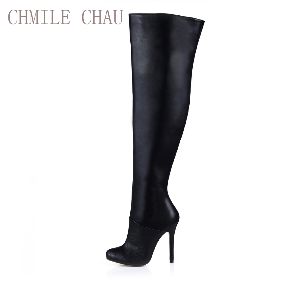 CHMILE CHAU Black Sexy Party Shoes Women Stiletto High Heels Ladies Over-the-Knee Boots Zapatos Mujer Botas Plua Size 0640CBT-Z2 купить