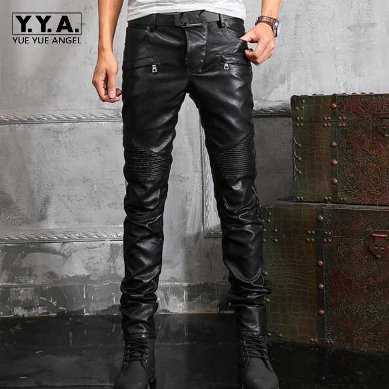 New Arrival Top Quality Mens Pu Leather Retro Motorcycle Pants Man Slim Fit Pants Gothic Zip Trousers Plus Size 28-38
