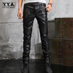 Новое поступление, мужские ретро мотоциклетные брюки из искусственной кожи высшего качества, мужские облегающие брюки на молнии в готическ...