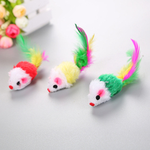 10 piece Furry Cat Toys Free Ship Squeak Mouse Rattle Mice Catcher Pet with Feather Tails