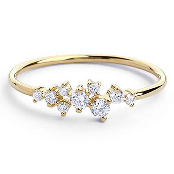 ใหม่แฟชั่นสาน Zircon แหวน Rose Gold/Silver สีแหวนผู้หญิงเครื่องประดับขายส่ง