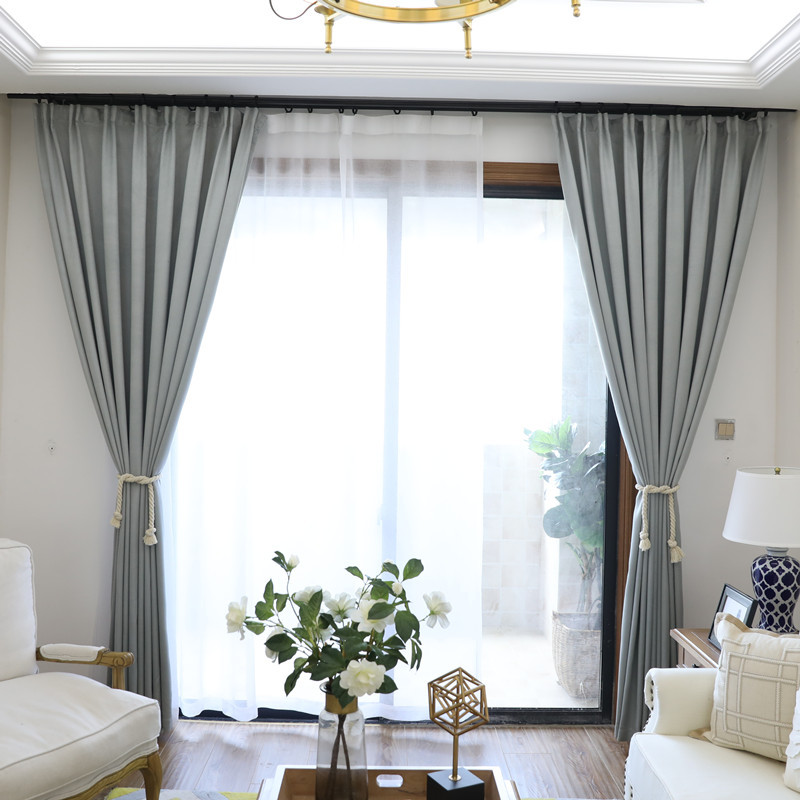 Nordic Grey Solid Curtains For Bedroom Modern Living Room Curtains White  Leaves Embroider Tulle Curtains Drapes Window Treatment In Curtains From  Home ...
