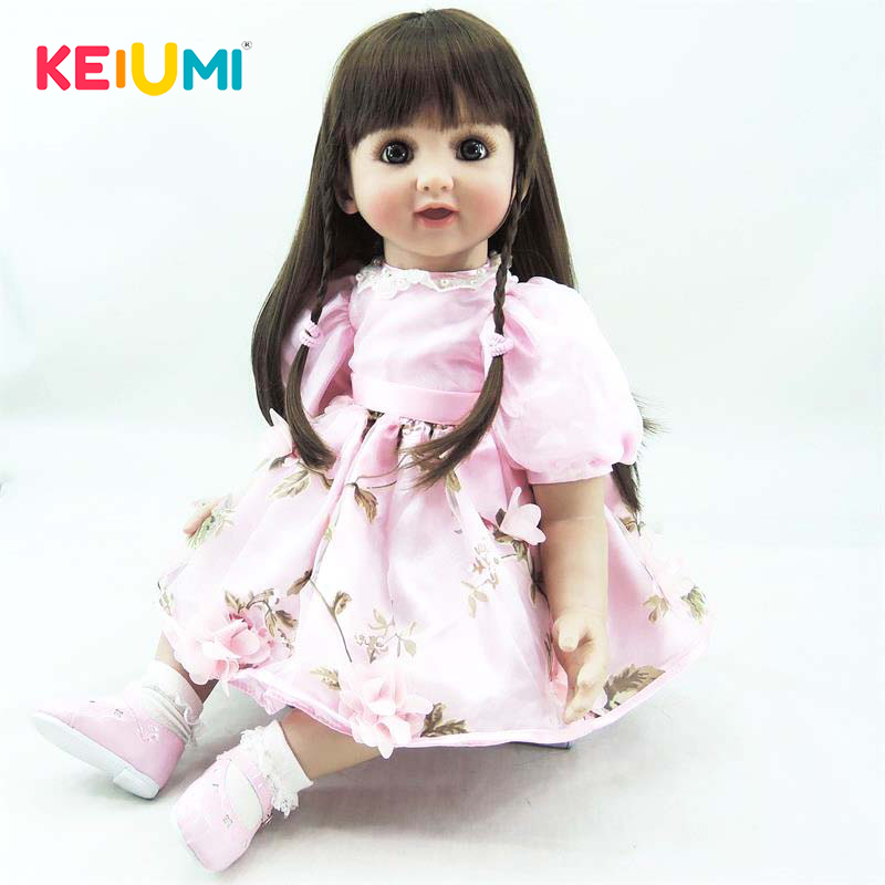 Real 22 Inch 56 cm Reborn Toy Soft Silicone Vinyl Newborn Doll For Girl Lovely Reborn Baby Doll Cloth Body Kids Birthday Gifts 22 inch lovely reborn baby dolls full vinyl body silicone newborn baby reborn 55 cm girl realistic princess kids birthday gifts