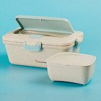 ONEUP пшеничная соломенная Ланч-бокс экологичный милый кролик Bento box Microwavable контейнер для хранения продуктов с ложкой и вилкой