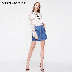 Image 2 - Vero Moda yeni kadın çiçek desen Flared kollu şifon bluz üstleri