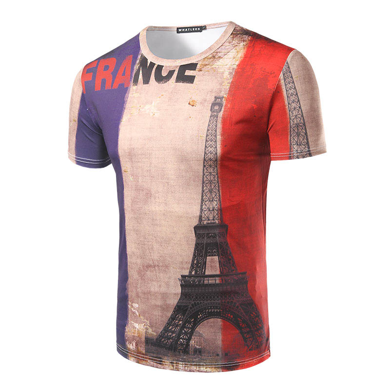 d88f31b36ab New Arrival Men Fashion Design France Flag Design T-shirt Short Sleeve O  Neck Male 3D Printing Casual Slim fit Top Tees