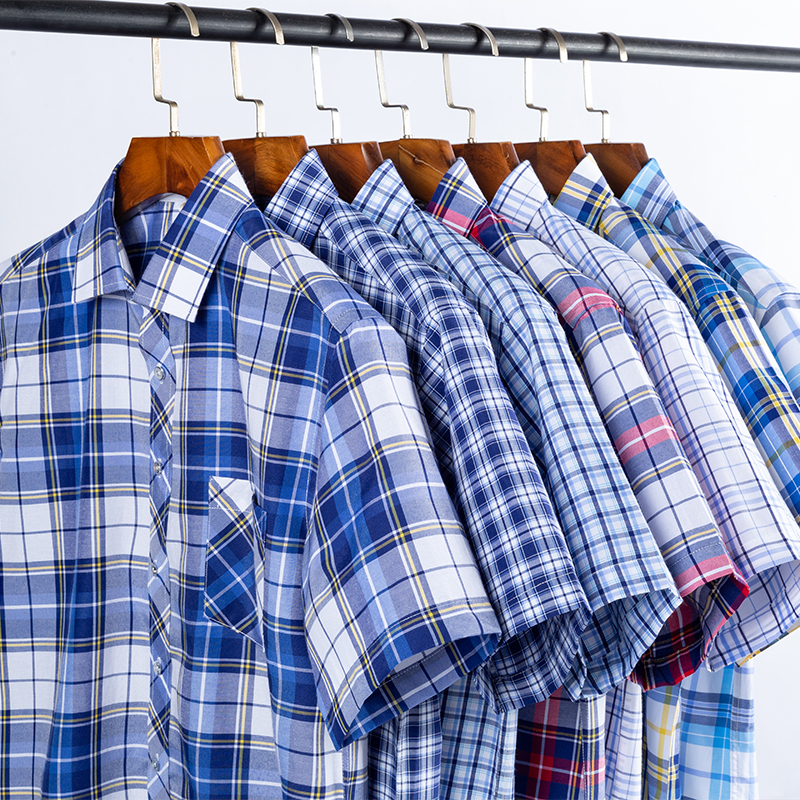 Checkered shirts for men Summer short sleeved leisure slim fit Plaid Shirt square collar soft causal male tops with front pocket 5