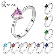 Bamos Mutilcolor AAA циркониевое кольцо в форме сердца Изысканные женские кольца с кристаллами 925 пробы, заполненные серебром, свадебные ювелирные изделия для женщин