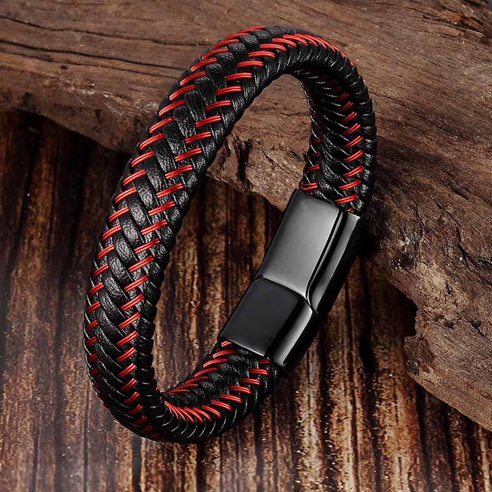Trendy Men Jewelry Red Braided Leather Rope Bracelet Black Magnetic Buckle Bracelets Punk Men Wrist Band Pulsera Hombre
