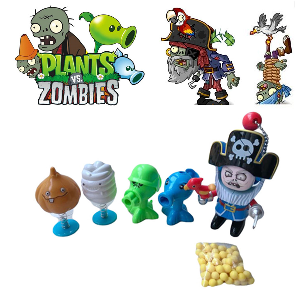 US $4 99 |1 set Cartoon Plants vs Zombies Robot Launch Seeds Pirates Zombie  Can Change 4 Style Face Transformation Model Kid Gift Toy-in Action & Toy