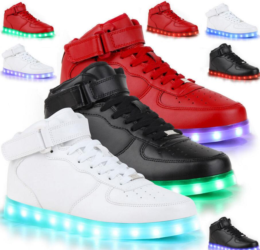 New Glowing Sneakers Kids Fashion High Top Light Up Casual 7 Colors USB Charge Sneakers with Luminous Sole LED Shoes led glowing sneakers kids shoes flag night light boys girls shoes fashion light up sneakers with luminous sole usb rechargeable