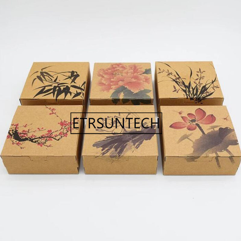 1000pcs 12*12*4.8CM Chinese Style Brown Kraft Paper Boxes Candy Biscuit Chocolate Cookie Gift Box
