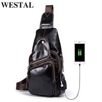 WESTAL Sling Bag Men Genuine Leather Messenger Bags USB Charging Chest Bag Leather Men Shoulder Crossbody Bags Chest Pack 8123
