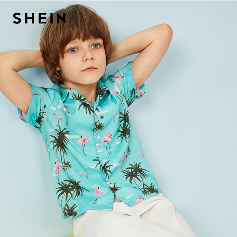 Фото - SHEIN Kiddie Boys Notched Collar Animal And Plants Print Boho Shirt 2019 Summer Vacation Short Sleeve Casual Teenager Shirt Tops women casual short has