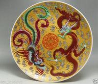 Китайские Редкие ручная роспись редкий Роуз фарфоровая тарелка Феникс дракона пластины украшения дома