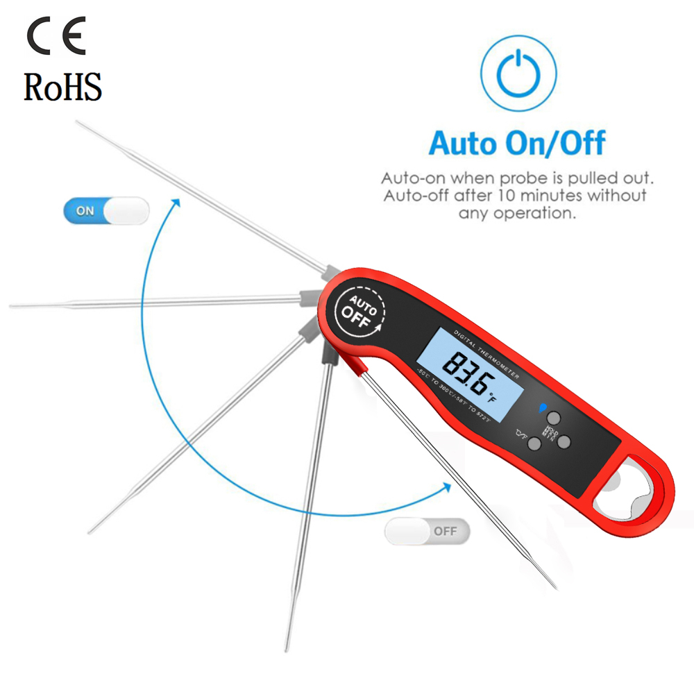Waterproof Digital BBQ Thermometer Oven Grill Meat Food Thermometer with Bottle Opener Smokehouse Pyrometer Cooking Accessoriess|Temperature Gauges| |  - title=