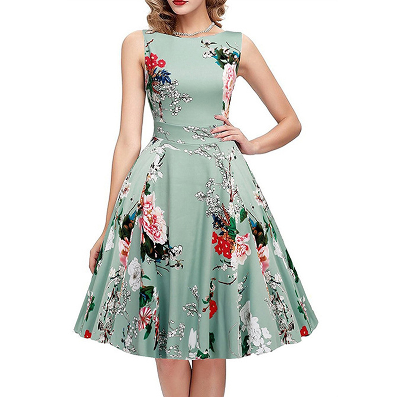 Fashion Lady Dresses: Large Swing Flower Summer Princess Dresses Beach Printing