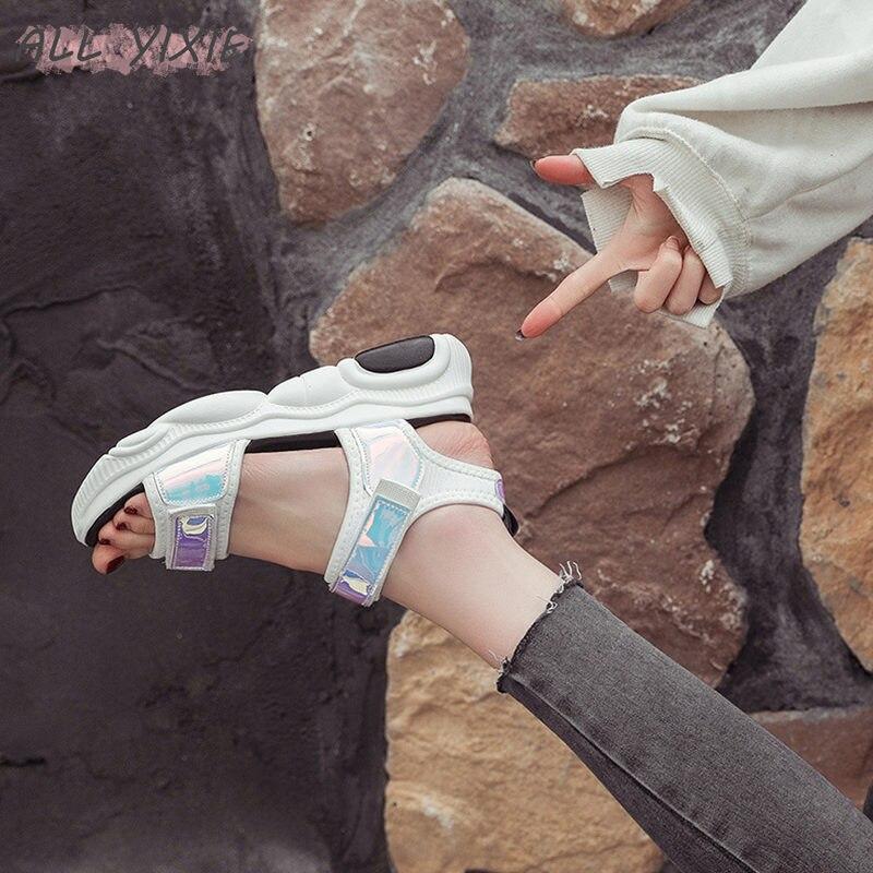 ALL YIXIE 2019 Fashion Platform Women Sandals Open Toe PU Heels Platform Sandals Summer Beach Casual Shoes Women Platform Shoes in Middle Heels from Shoes