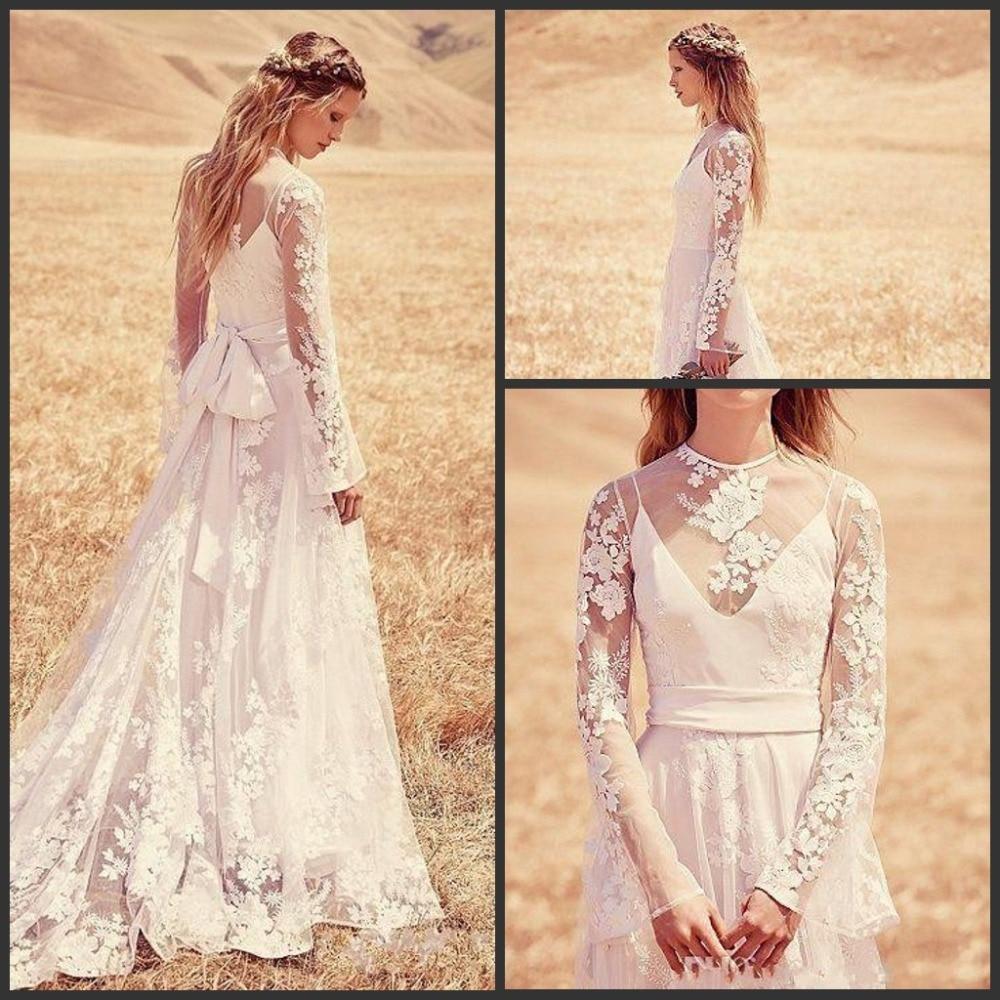 Vintage Style Lace Boho Custom Make Elegant Sheer Neck Hollow Back Long Sleeve Bridal Gown 2018 Mother Of The Bride Dresses