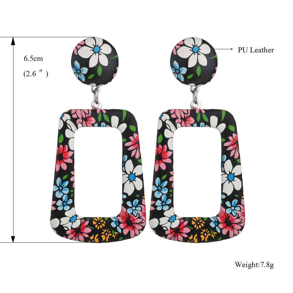 Nuevo 2019 Oversize geométrico gota pendientes flor para las mujeres Vintage Punk pendientes grandes statement piel de serpiente joyería de fiesta de regalos
