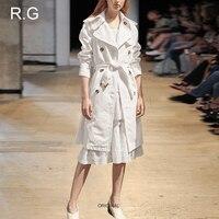 RG Business Office Style Women's Dress Suit White Ruffle Design Cotton Lace Dress Trench 2 Piece Set Suits Spring Autumn 2018