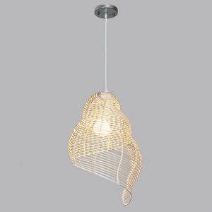 Image 3 - Artpad güneydoğu asya yaratıcı bambu kolye lamba deniz salyangoz şekli E27 hasır abajur şapkası çalışma için LED ışıkları salonu fikstür