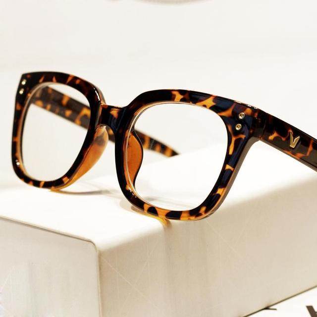 New Fashion V shape rivet Leopard reading glasses Frame Women Men ...